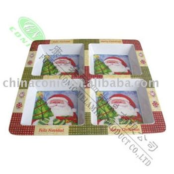 melamine 4-section christmas plate Santa Claus Tray