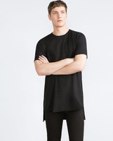 Elongated t shirts - Custom side zipper tall elongate extended long T shirt 100% cotton wholesale cheap