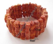 Nature Grass Coral Bracelet, 30x8x7mm, Sold per 8.8-Inch Strand