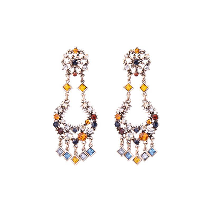 ed01486b Fahion Enthic Style Colorful Crystal Statement Earrings Large Size Jewelry