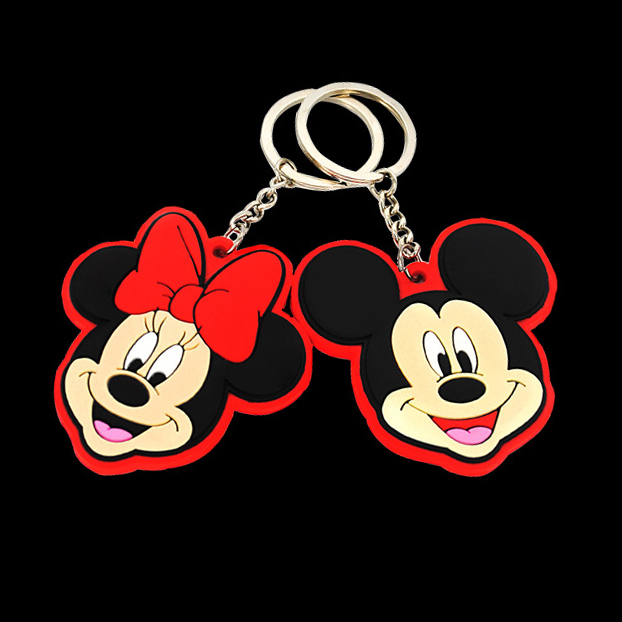 Manufactuer OEM Logo Promotional Cute Fancy Custom Cartoon 2D Soft PVC Rubber Keychain,3D Animation animie Rubber Key chain ring