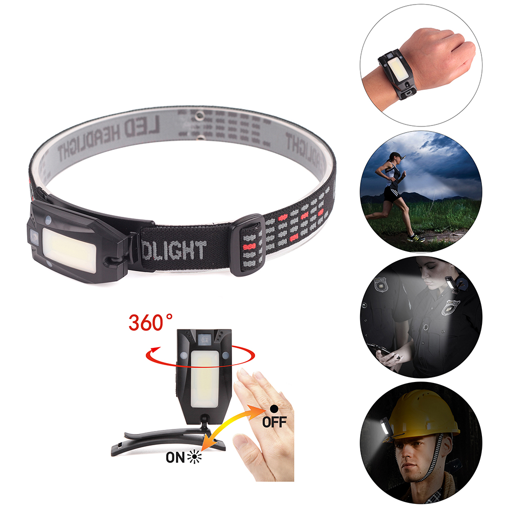 Custom elastic bands rechargeable sensor headlamp Emergency Flashlight