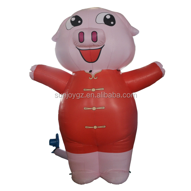 2018 hot selling inflatable advertising popular pink pig cartoon inflatable advertising figure model