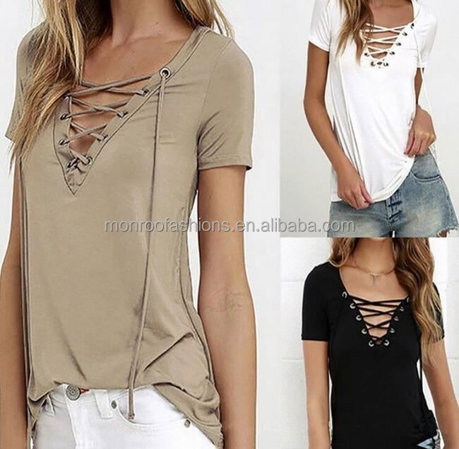 monroo latest images of ladies casual tops fancy design v neck t-shirts