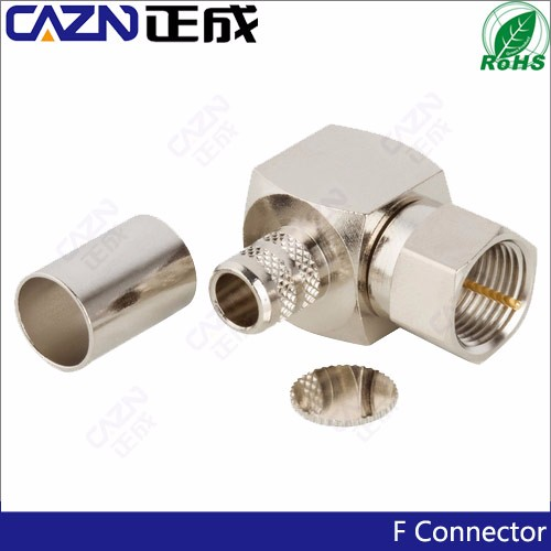 75ohm RF Connector F Right angle male plug crimp cable Connector