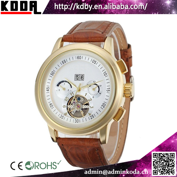 Jaragar Brown Leather Luxury Automatic Tourbillon Mechanical Man Watch
