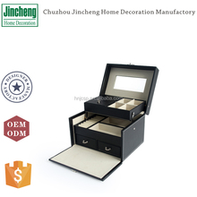 Decorative black leather travel jewelry box, jewelry drawer organizer, jewellery organiser