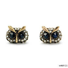 Designs Rough Diamond Owl Stud Earrings