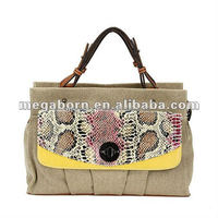 Fashion Snake-skin Canvas Detailed Wholesale Handbag Women's Bag