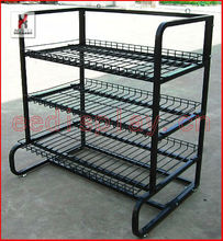 Supermarket promotion mugs display shelf/metal display rack with 3 baskets/shop dishes and bowls display stand