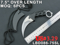 TACTICAL COMBAT SELF-DEFENSE KNIFE, CLAW KNIFE, 420 STAINLESS STEEL BLADE WITH PP HANDLE