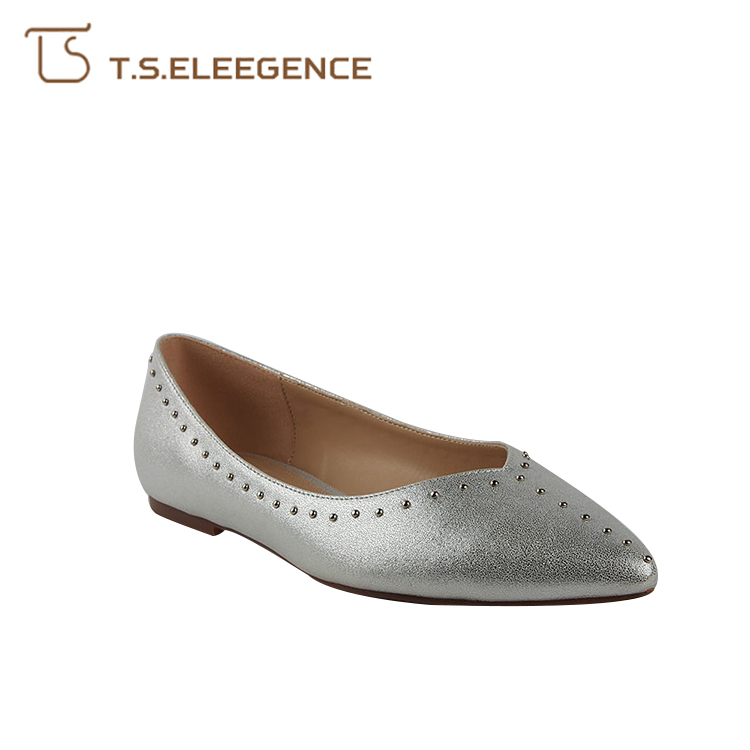 2018 latest girl silvery PU ladies dress beautiful flat shoes