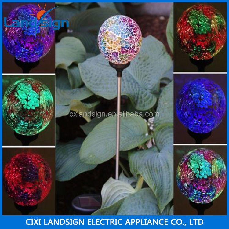 Solar Power Multi-color Color Changing LED Mosaic Crackle Glass Ball Garden Yard Decorative Light