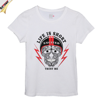 Life is Short Skull Design Lead Free Cotton Full-Size Printing T-Shirt
