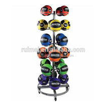 Customized 24 pockets 6-tier wheels rotating metal basketball stand basketball rack