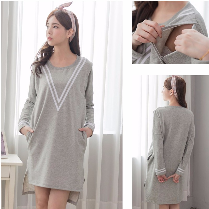 Maternity Clothes Long sleeve Nursing Dress Breastfeeding Hoodies Casual Sporty style Maternity Sweater for Pregnant Women