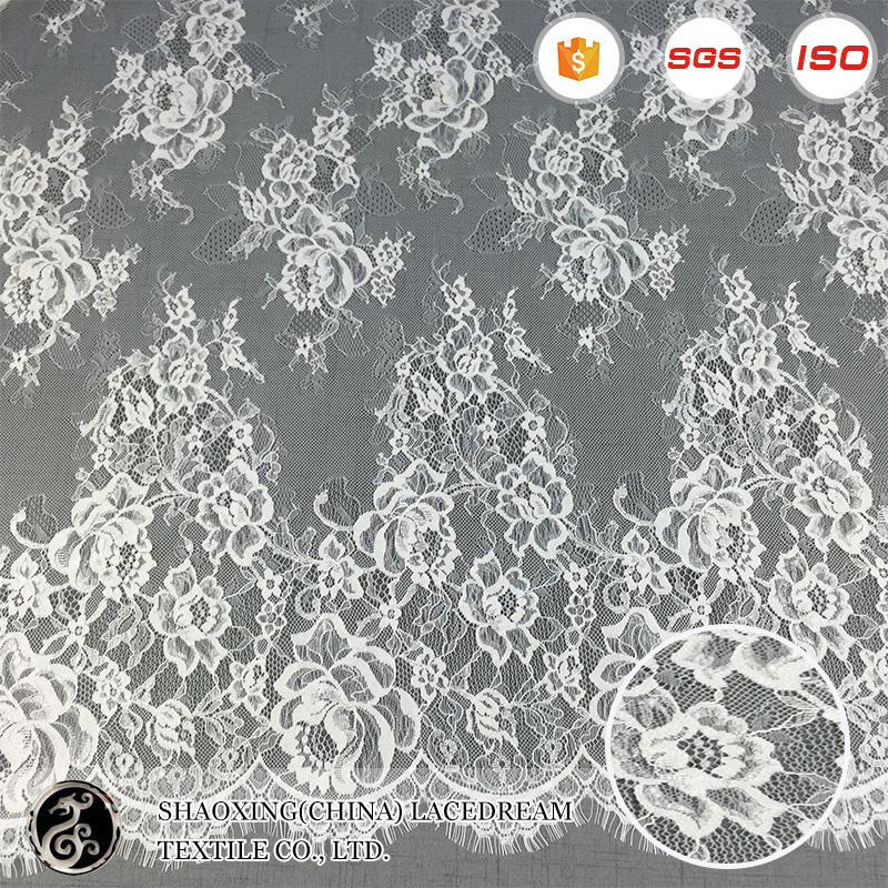 new design 100% nylon white fabrics <strong>150</strong> cm*300cm sexy lingerie eyelash lace trim for sale