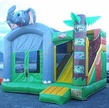 elephant inflatable bounce house,inflatable jungle combo with slide F3010B