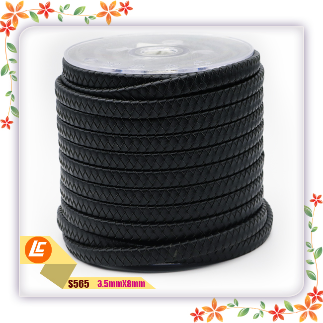 Best quality braided 10mm flat square leather cord black