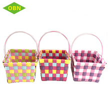 Colorful small size pp woven tape baskets