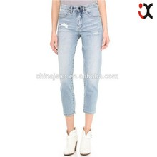 Brand new european style women's jeans washed ripped pencil jeans with holes casual cross-pants jeans(JXW178)