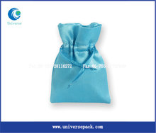 popular light blue recycle jewelry pouch satin