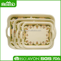 Palace design melamine food tray sets, dinnerware wholesale plastic tray