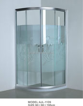 Best-sell printing tempered glass shower enclosure AJL-1109 simple shower cabin furniture