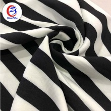 Shaoxing factory manufacture cheap black and white striped thick satin fabric