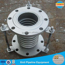 Axial pressure single bellows compensator for gas turbine exhaust piping