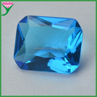 Man-made Aquamarine color octangle shape diamond cut glass gemstone for jewelry