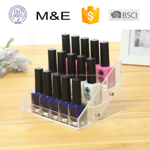 High quality Transparent Acrylic Nail Polish Display Rack with small 3 tiers