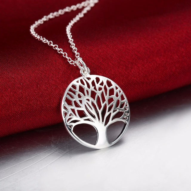 2016 CHIC BEST SELLING Silver Tree Of Life 20inch Pendant Necklace totem gift girl women wedding Valentines Day love  jewelry