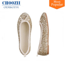 Spring Fancy Golden Glitter Girls Sequin Flat Slip-on Belly Shoes for Kids