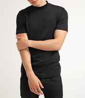 Cheap Wholesale Mens Blend 95% Cotton 5% Spandex Black Plain O Neck Short Sleeve T Shirt