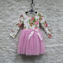 2016 Summer lovely beauty child girl floral print long sleeve o neck tulle shirt dress princess dress child girl one piece dress
