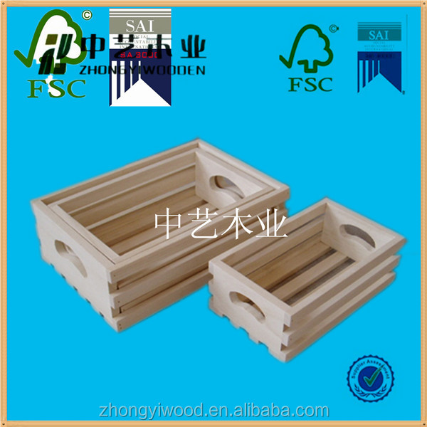 cheap unfinished decoration open top wooden fruit box