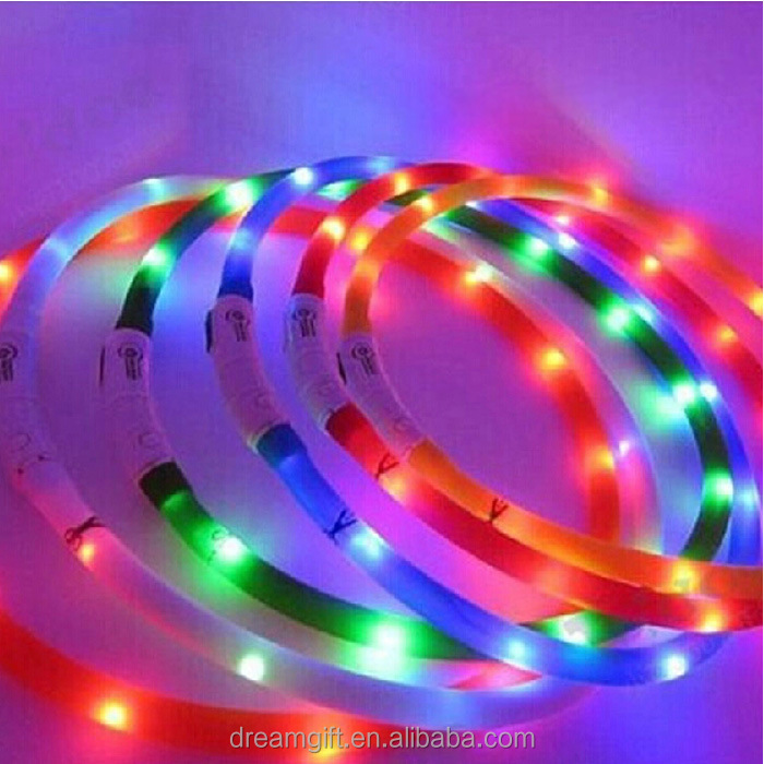 2015 Hotest Pet product led usb rechargeable dog collars, glowing collar waterproof, Flashing LED light Dog Collar