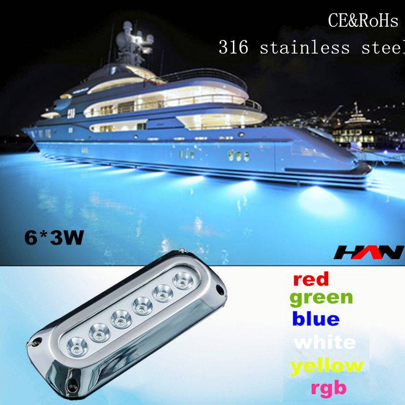 Rectangular 18W 316 stainless steel led underwater boat light/led drain plug light