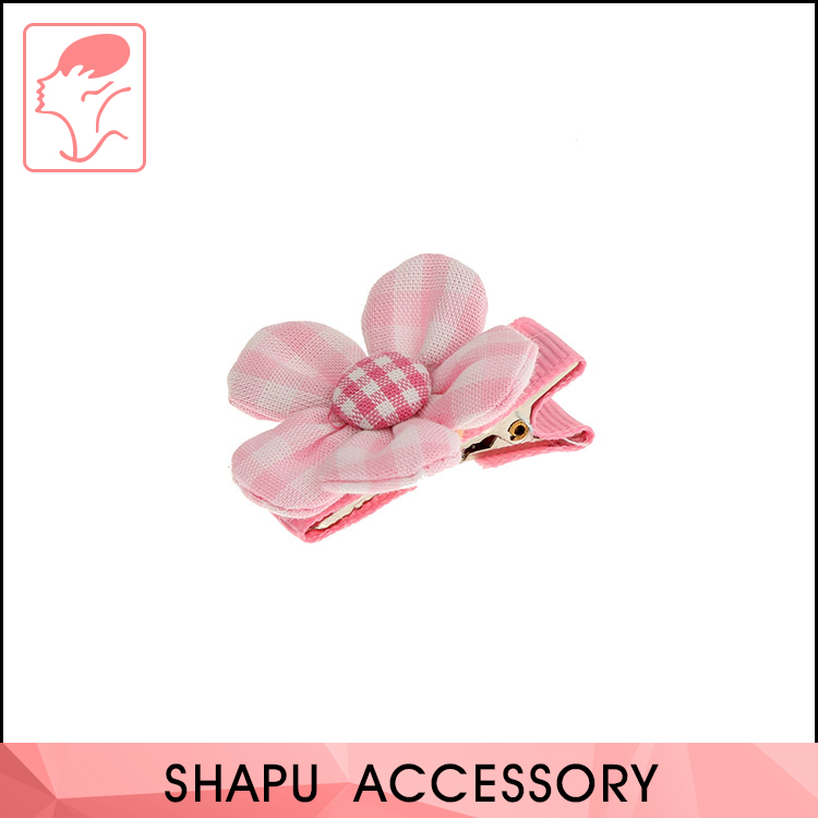 Colorful Fabric Striated Bicolor Flower Hair Accessories Girls Hairclip