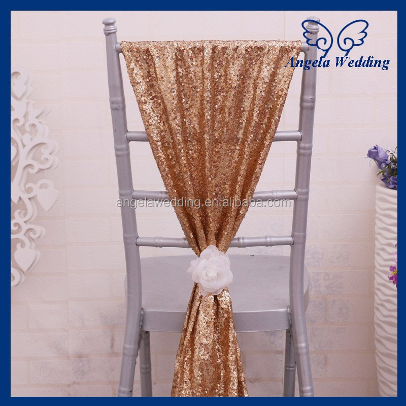 SH005D Custom made many colors Nice new wedding chair sash gold sequin chair sash with white flower