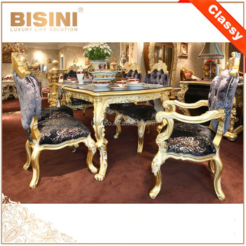 Italy Design Gilded Wooden Fancy Dining Table With Chairs For 6 People/ European Classic Golden & Italy Design Gilded Wooden Fancy Dining Table With Chairs For 6 ...