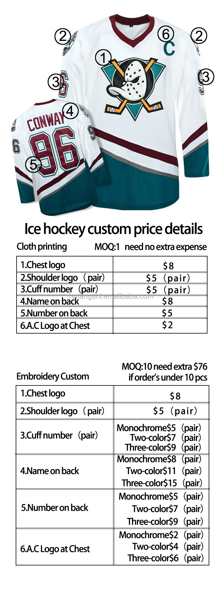 Custom 100% polyester canucks team hockey jersey embroidery and printing