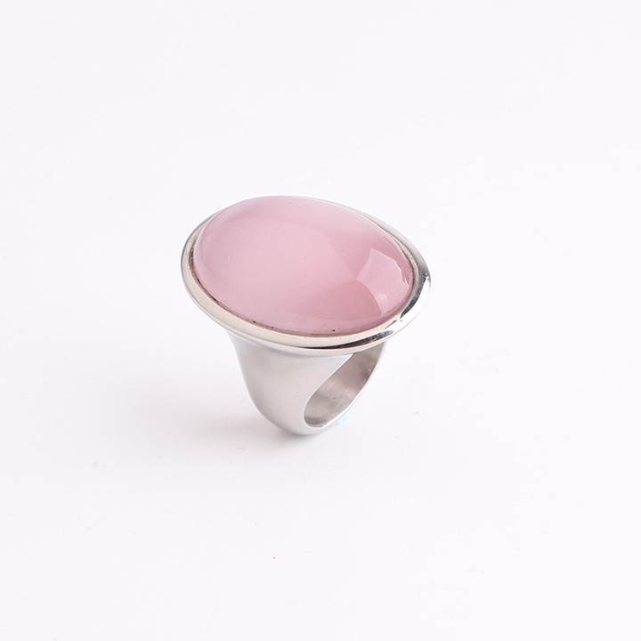 Oval Pink Gem 316L Stainless Steel finger rings for men women jewelry wholesale