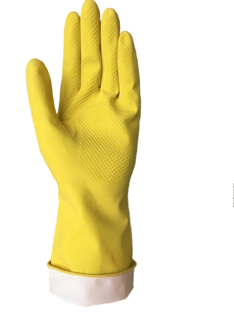 Dipped flocklined household latex gloves