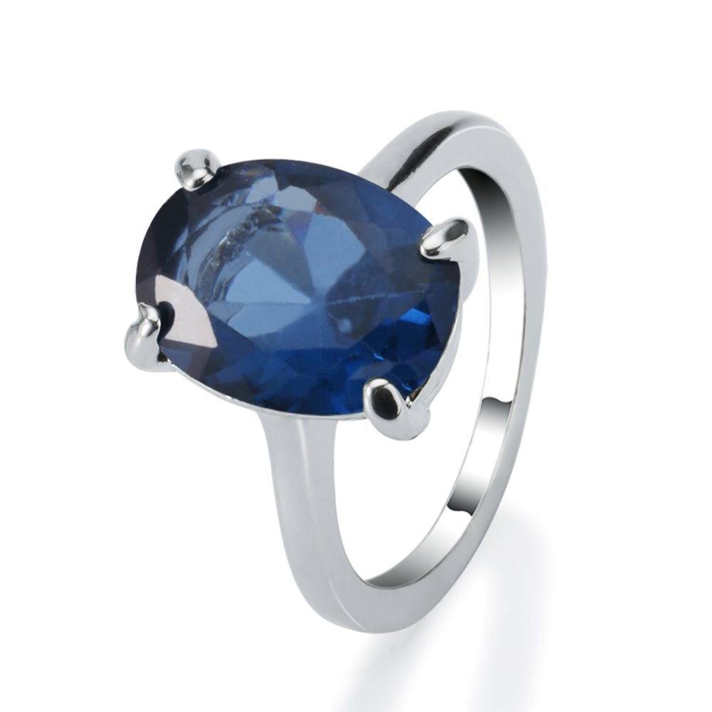 Hot sale hand made 18k white gold plated oval cubic zirconia sapphire ring for women men