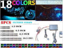 8pc Music Remote 18 Color LED Flexible Neon Strip Motorcycle Accent Light Kit Victory
