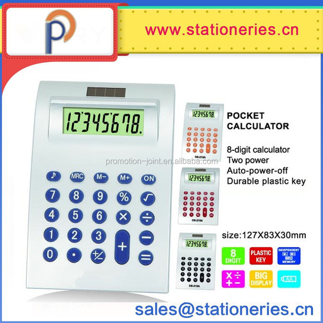 8 Digit curved body Color button pocket size calculator
