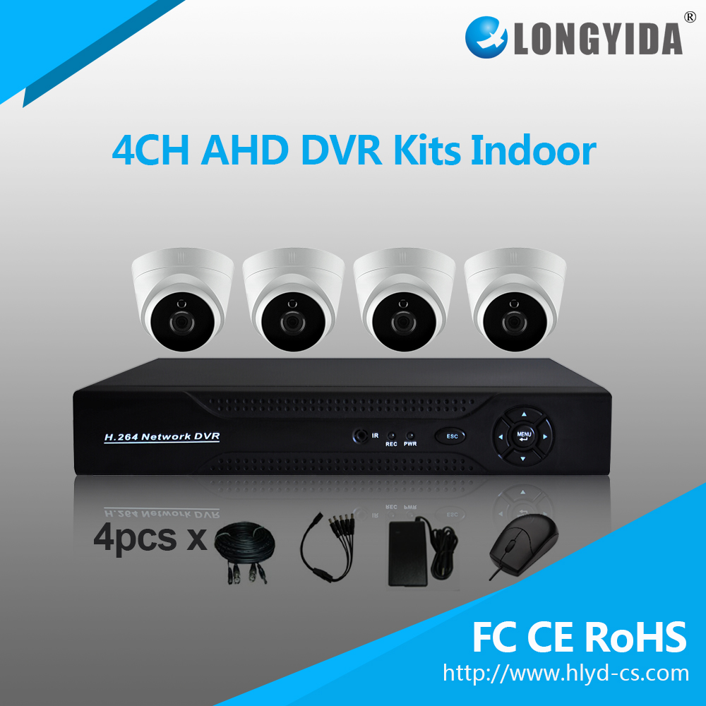 OEM 720P 4CH Dome Cameras CCTV Security Recording System AHD DVR Kit