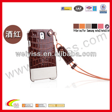 New arrival leather case cover for samsung galaxy note 3 , croco lanyard phone case